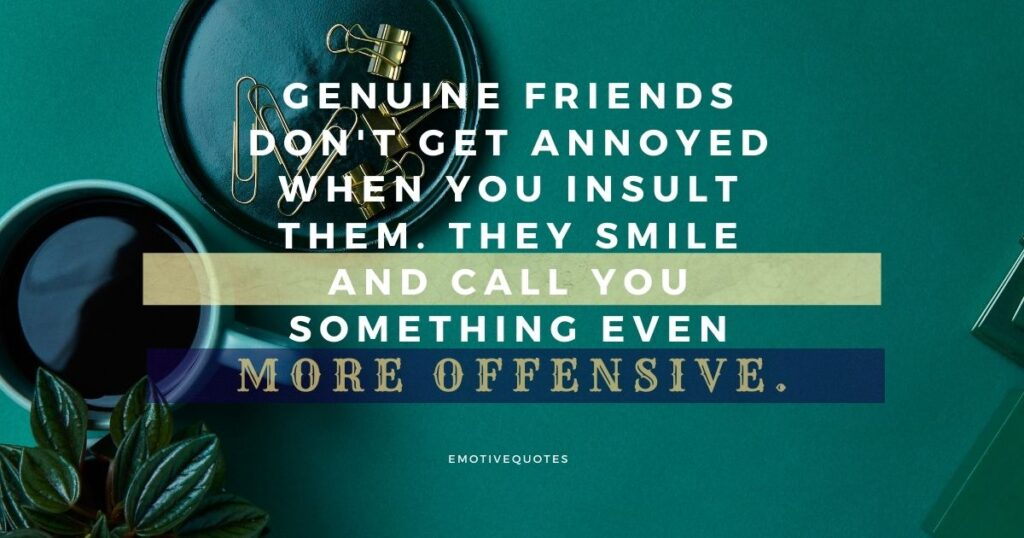 Genuine friends don't get annoyed when you insult them. They smile and call you something even more offensive.