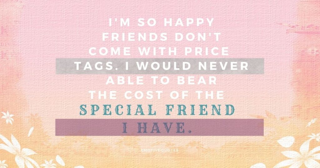 I'm so happy friends don't come with price tags. I would never able to bear the cost of the special friend I have.