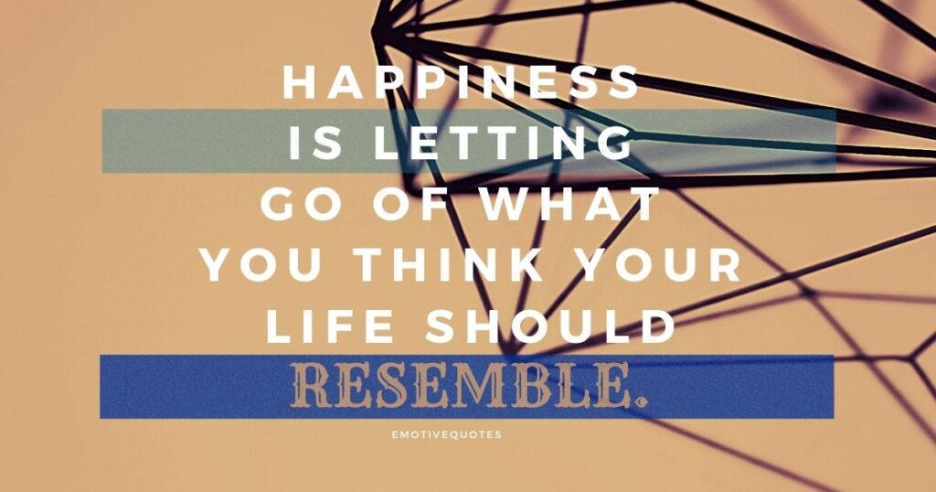 Happiness is letting go of what you think your life should resemble.