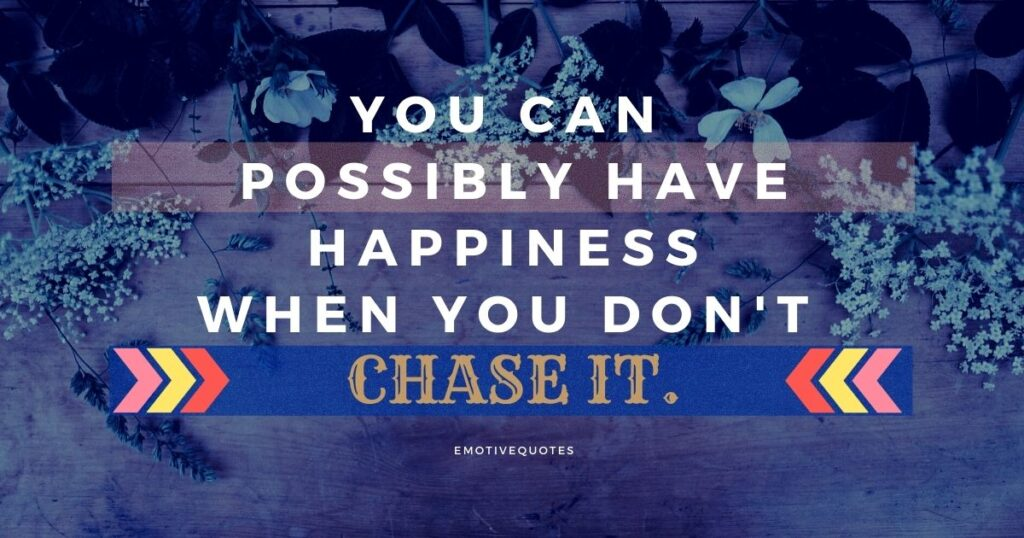 You can possibly have happiness when you don't chase it.