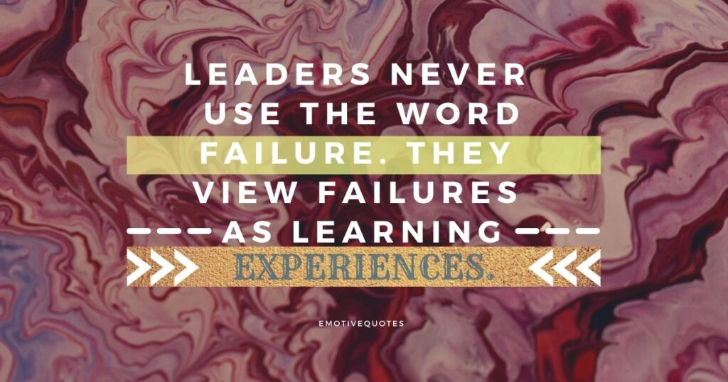 Leaders never use the word failure. They view failures as learning experiences.